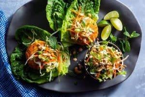 Lettuce-Wrapped Lemongrass Salmon Burgers with Crunchy Asian Slaw